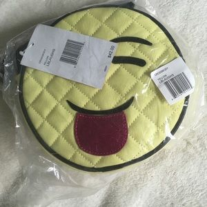 BETSEY JOHNSON EMOJI Crossbody BAG Canteen Laughs Quilted NEW W Tag AUTHENTIC